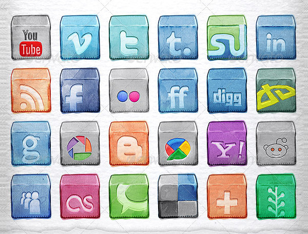 Watercolor Social Icons Pack