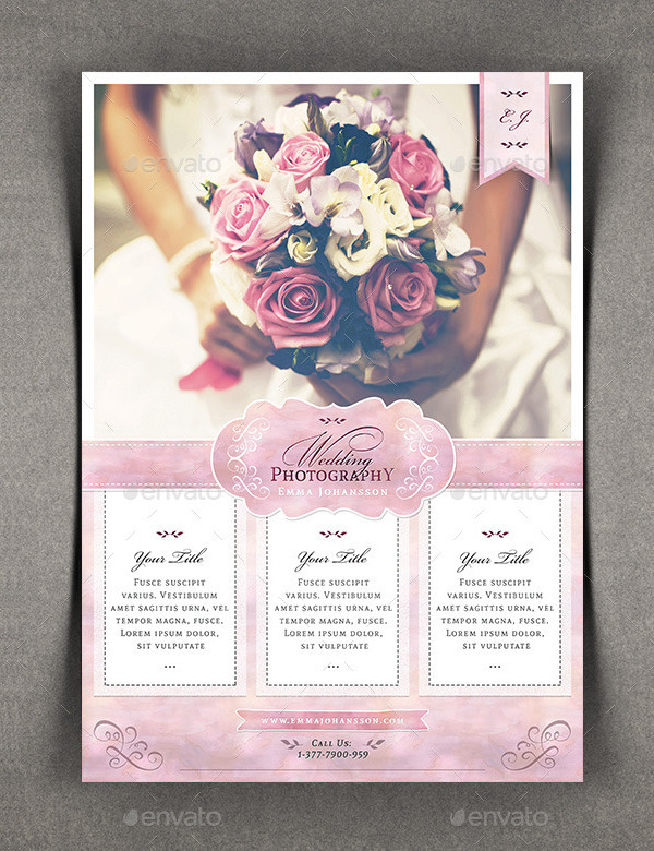 Watercolor Photography Flyer for Wedding