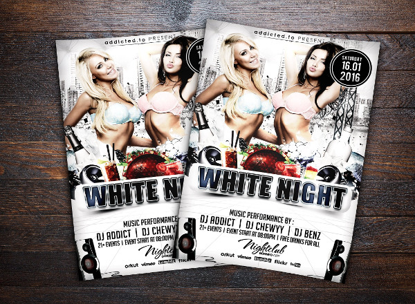 White Night Party Flyer Design