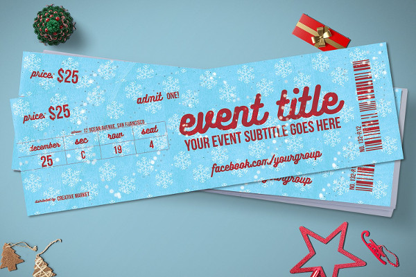 Christmas Event Ticket Mock-up