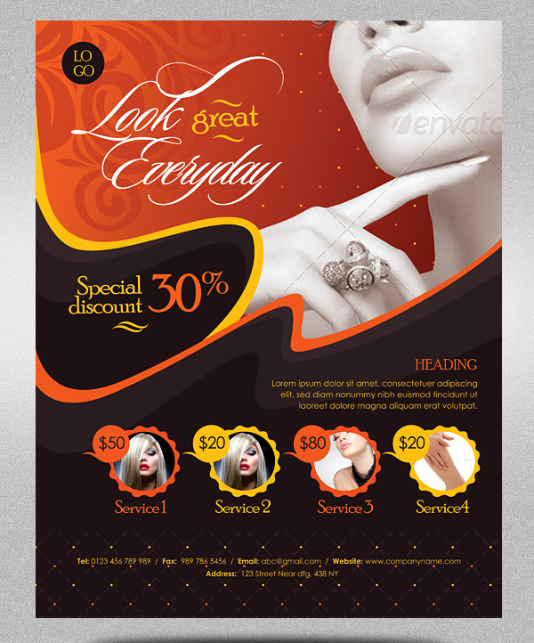 Beauty Business Promotion Flyer Template