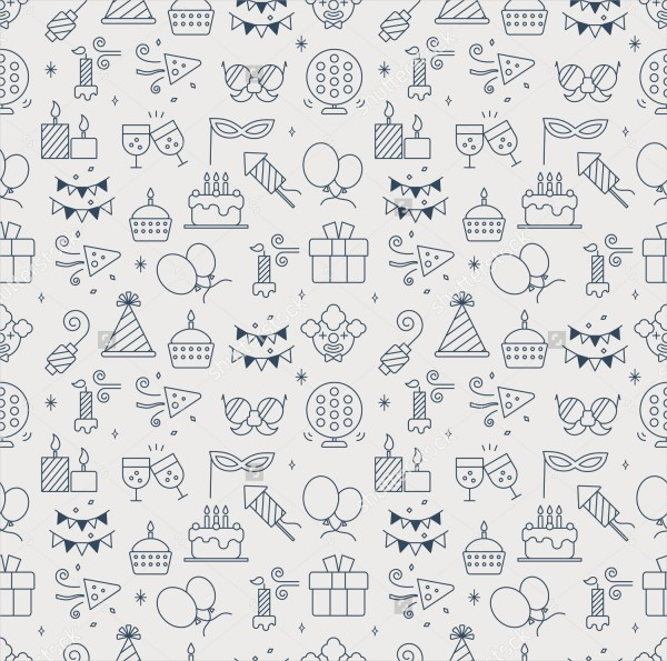 Birthday Line Icon Pattern Set