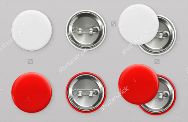 Blank White & Red Pin Badges Mockup