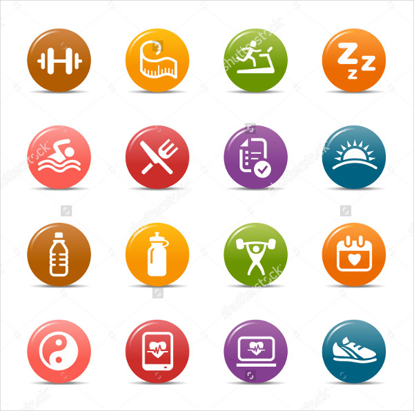 Colored Dots Health Icons Collection