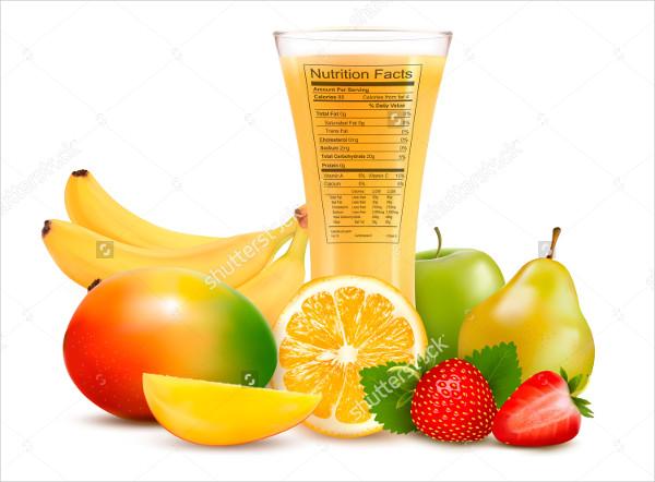 Fresh Fruit Juice Vector Illustration Label
