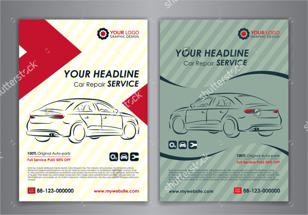 Set of Auto Repair Services Flyers