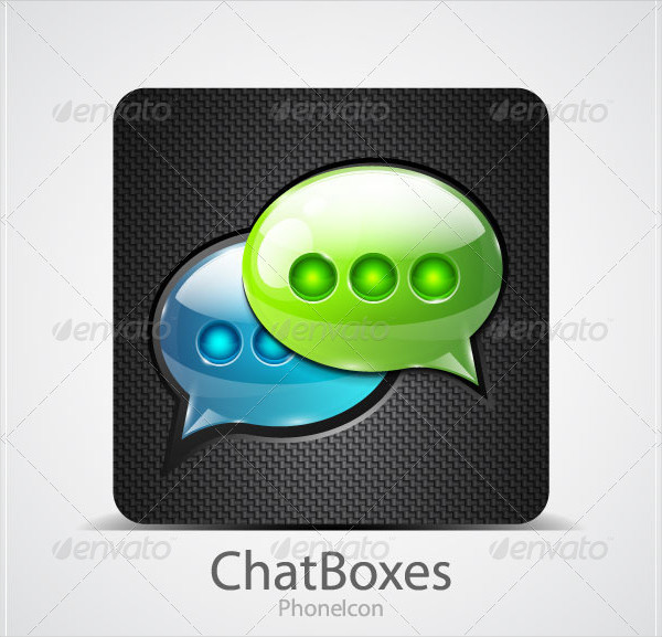 Glossy Styled Chat Box Phone Icon
