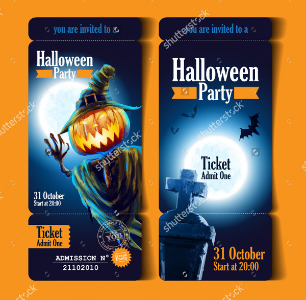 Halloween Event Party Ticket Mock-up