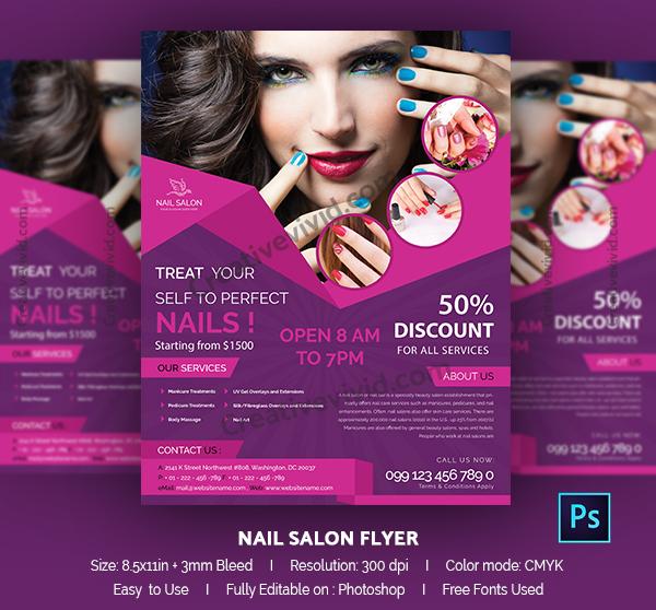 PSD Nail Salon Flyer Design