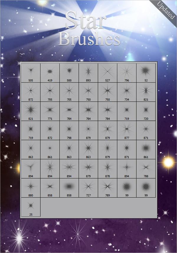 50 Modern Star Brush Set Photoshop