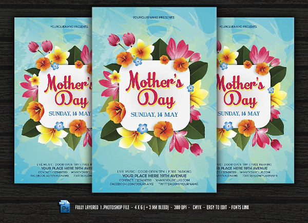 Mother's Day Party Flyer Instant Download