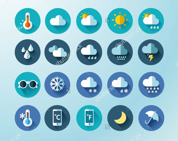 Set of Weather Round Icon