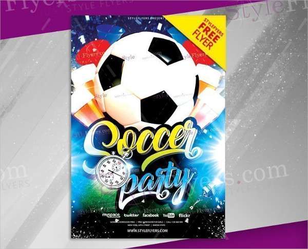 Soccer Party Flyer Free PSD Template