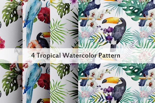 4 Tropical Watercolor Pattern