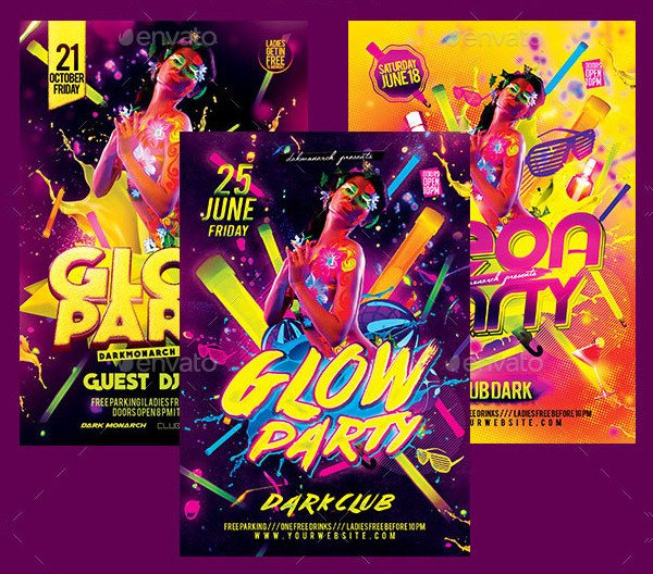 3 in 1 Glow Party Flyers Bundle