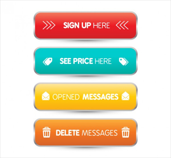 3D Web Buttons Free Vector
