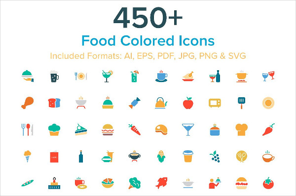 450+ Food Colored Icon Pack