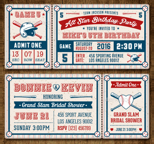 Baseball Ticket Party Invitation Templates