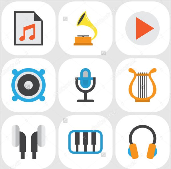 Perfect Music Flat Symbols Set