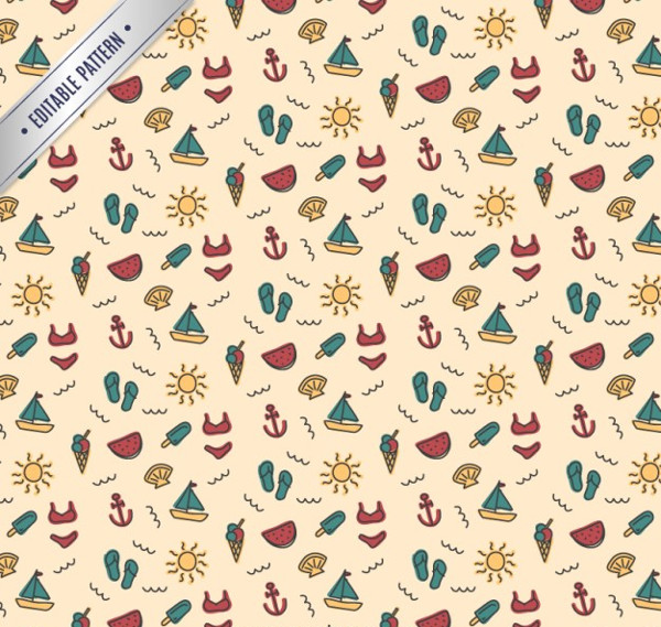 Editable Summer Pattern Free Vector