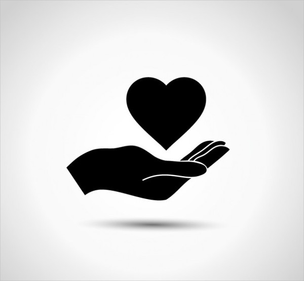 Charity Logo with Hand Free Vector