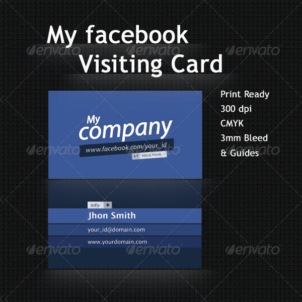 Facebook Profile Visiting Card Template