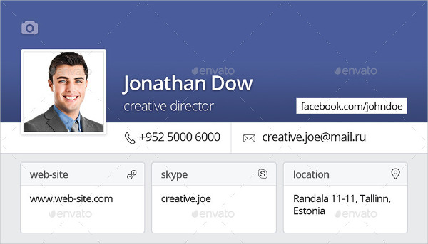 Facebook Style Business Card Templates