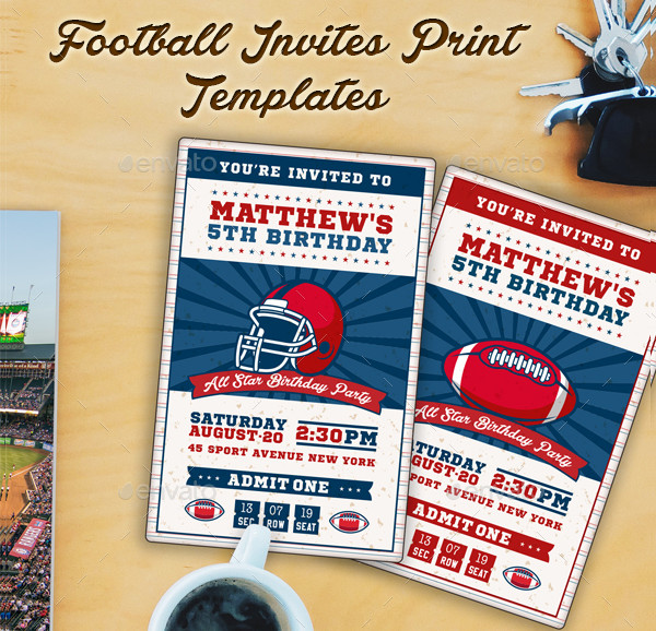 Football Ticket Party Invitation Templates
