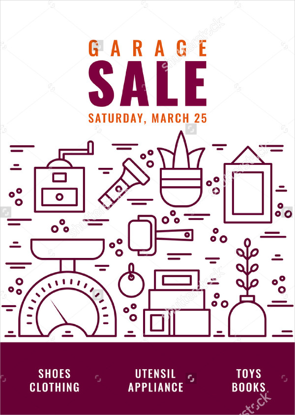 Garage Sale Marketing Flyer Vector