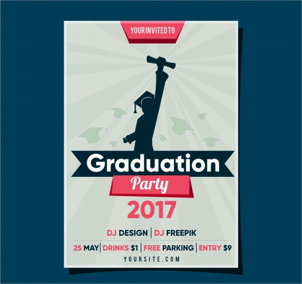 Graduation Party Flyer with Student Free Download