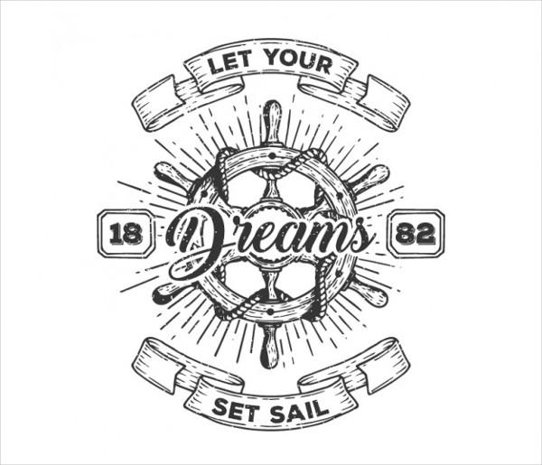 Hand Drawn Sailing Badge Free Vector