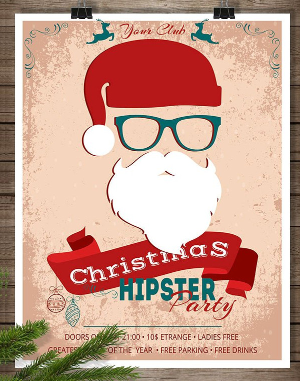 Hipster Christmas Party Poster Template