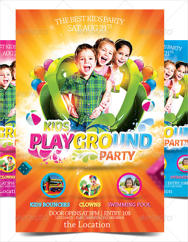 Kids Play Ground Party Flyer Templates