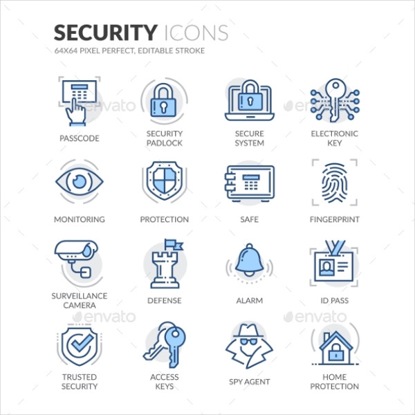 Simple Set of Security Related Color Vector Line