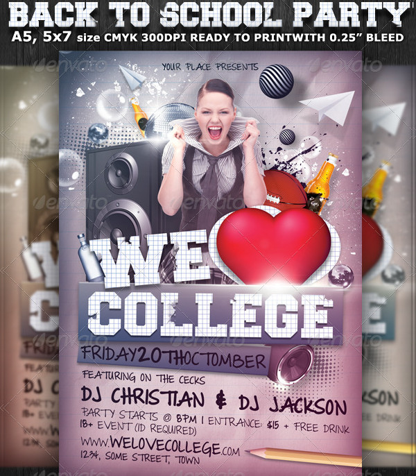 We Love College Party Flyer Template
