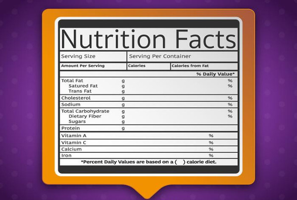 Nutrition Facts Label Template on Purple Background