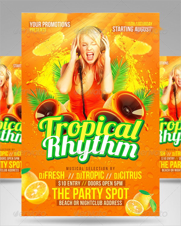 Tropical Rhythm Party Flyer Templates