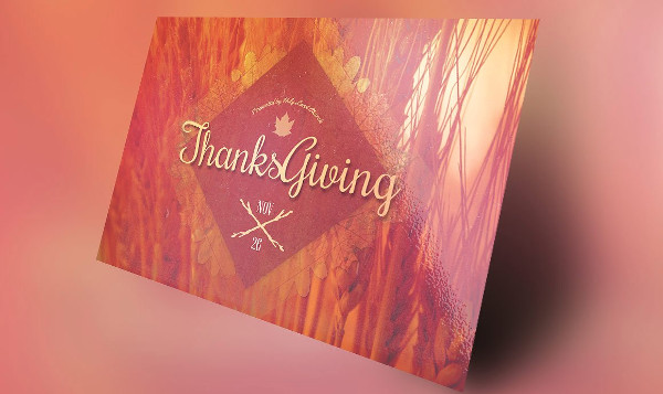 Retro Thanksgiving Invitation PSD