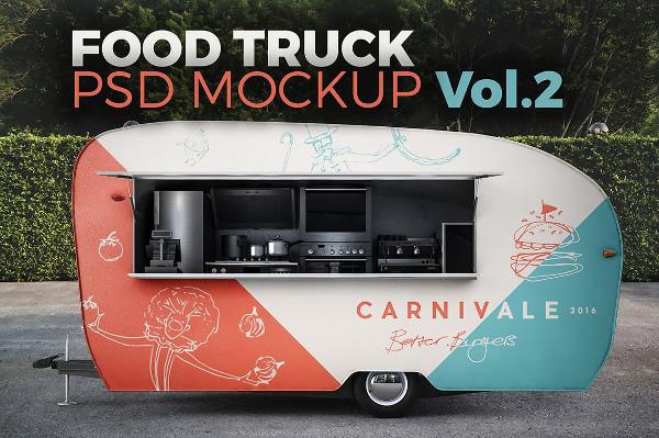 Street Food Truck Mockup PSD
