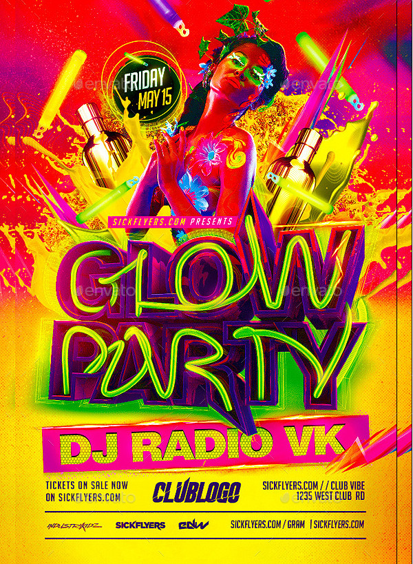 Unique Glowing Party Flyer
