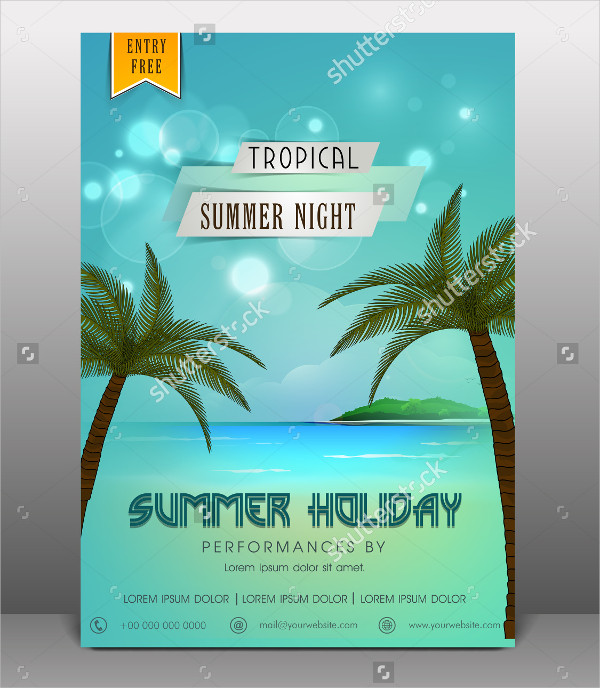 Tropical Summer Holiday Party Flyer