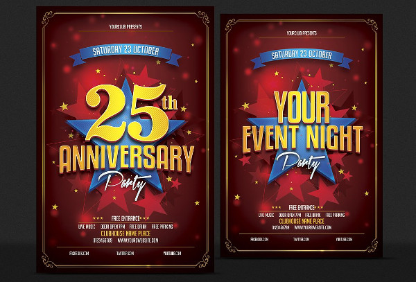 Unique Anniversary Party Flyer Templates