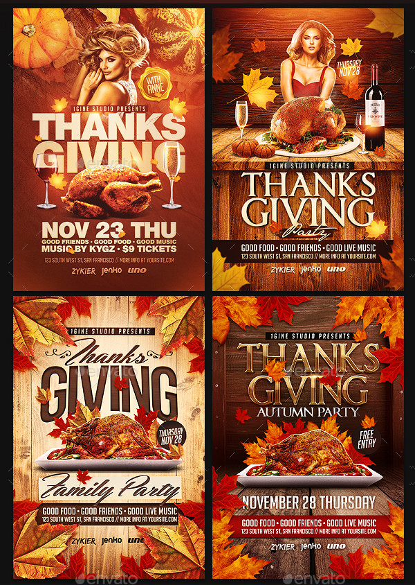 4 in 1 Thanksgiving Flyers Bundle