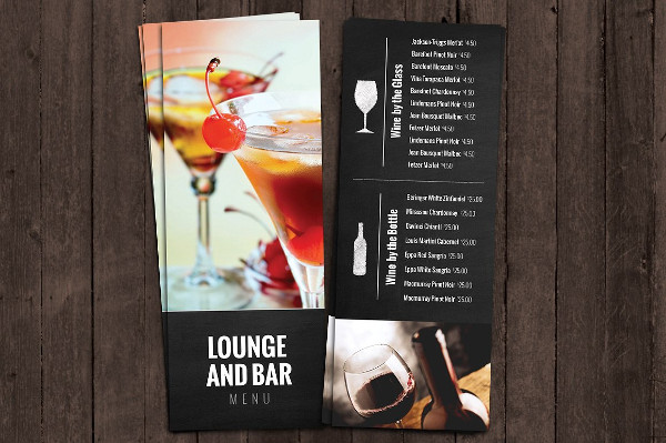 Bar and Lounge Drink Menu Template