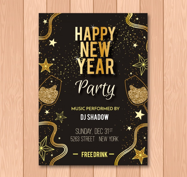 Black & Gold Holiday Flyer Invitation Free Download