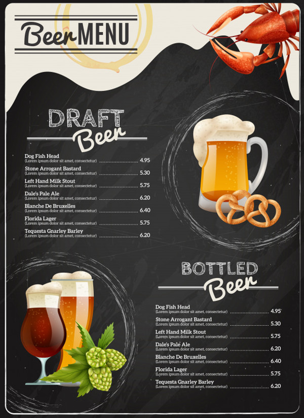 Chalkboard Beer List Template Free Download