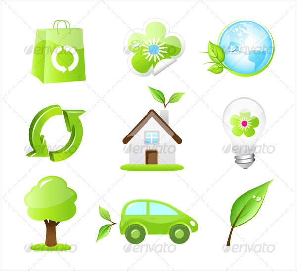 Collection Of Nine Green Eco Icon Pack