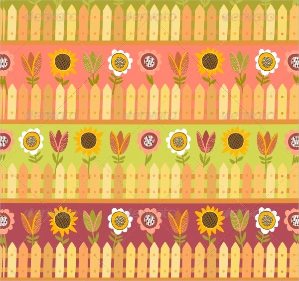 Country Seamless Pattern with Fence and Flowers