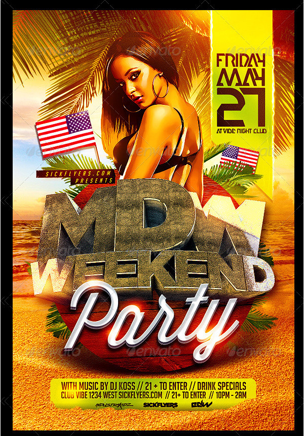 Memorial Day Colorful Flyer Template