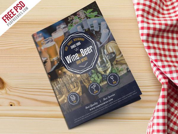 Free Wine & Beer Menu Brochure Template PSD